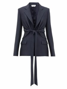 Gabriela Hearst - Grant Knotted Wool-blend Piqué Suit Jacket - Womens - Navy