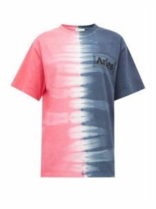 Aries - Logo-print Tie-dyed Cotton-jersey T-shirt - Womens - Blue Multi