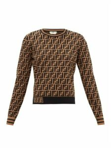 Fendi - Ff-logo Monogram Knitted Sweater - Womens - Brown Print
