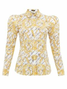 Versace - Signature-print Cotton-poplin Shirt - Womens - White Multi