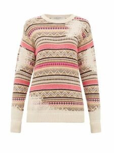 Golden Goose - Charlotte Distressed-fair Isle Sweater - Womens - Ivory Multi