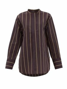 Joseph - Aufray Mandarin-collar Striped Cotton-blend Shirt - Womens - Black Multi