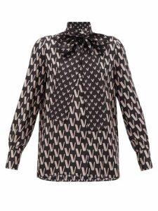 Valentino - Tie-neck V-jacquard Silk Blouse - Womens - Black Print