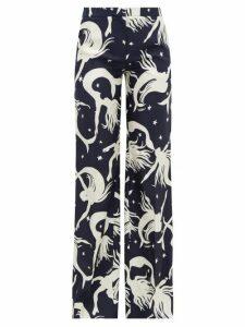Valentino - Mermaid-print Silk-twill Wide-leg Trousers - Womens - Navy