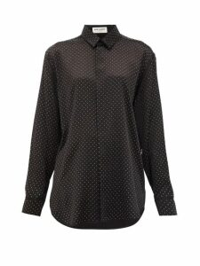 Saint Laurent - Studded Silk Blouse - Womens - Black