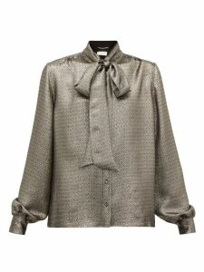 Saint Laurent - Pussybow Silk-blend Lamé Blouse - Womens - Silver
