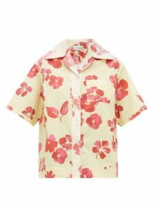 Wales Bonner - Hibiscus-print Cuban-collar Cotton-poplin Shirt - Womens - Yellow Multi