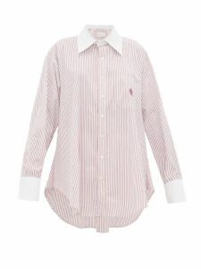 Matthew Adams Dolan - Logo-embroidered Striped Cotton-poplin Shirt - Womens - Red White