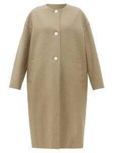 Harris Wharf London - Collarless Single-breasted Felted-wool Coat - Womens - Light Brown