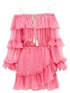 Dundas - Off-the-shoulder Ruffled Silk-chiffon Dress - Womens - Pink Multi