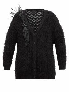 Simone Rocha - Vinyl-corsage Lace-knitted Cardigan - Womens - Black