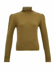 Symonds Pearmain - Ruffle-neck Pointelle-knit Cotton Sweater - Womens - Brown