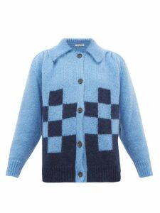 Miu Miu - Point-collar Checked Mohair-blend Cardigan - Womens - Blue Multi