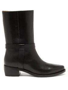 Legres - Strap-embellished Leather Biker Boots - Womens - Black