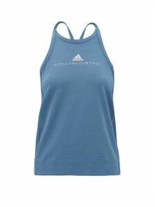 Adidas By Stella Mccartney - Logo-print Mesh Performance Tank Top - Womens - Blue