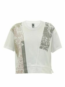 Adidas By Stella Mccartney - Snakeskin-print Cotton-jersey T-shirt - Womens - White Print