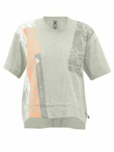 Adidas By Stella Mccartney - Cropped Snake-print Cotton-jersey T-shirt - Womens - Grey Multi