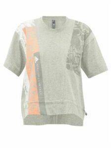Adidas By Stella Mccartney - Cropped Snake-print Cotton-jersey T-shirt - Womens - Grey Multi