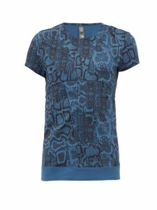 Adidas By Stella Mccartney - Snake-print Technical Jersey T-shirt - Womens - Blue Print