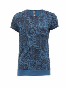 Adidas By Stella Mccartney - Snake-print Technical Jersey T-shirt - Womens - Blue Print
