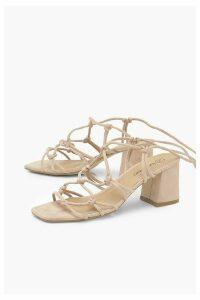 Womens Caged Ankle Tie Block Heel Sandals - Beige - 8, Beige