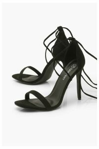 Womens Ankle Tie Stiletto Sandals - black - 6, Black