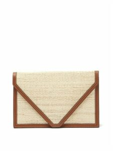 Hunting Season - Envelope Leather-trimmed Canvas Clutch - Womens - Tan