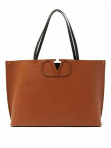 Valentino Garavani - V-logo Large Grained-leather Tote Bag - Womens - Brown