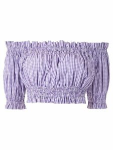 Andrea Bogosian Pri check cropped top - PURPLE