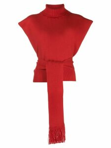 Alanui knitted roll neck top - Red