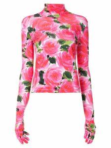 Richard Quinn floral print gloved T-shirt - PINK