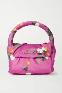 BERNADETTE - Belinda Mini Knotted Floral-print Satin Tote - Pink