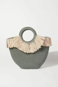 Mizele - Sun Mini Leather And Faux Raffia-trimmed Crocheted Cotton Tote - Teal