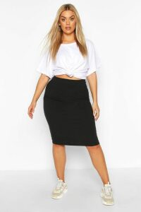 Womens Plus Soft Rib Midi Skirt - Black - 26, Black
