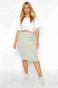 Womens Plus Soft Rib Midi Skirt - Green - 16, Green