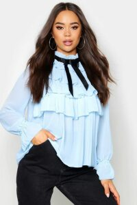 Womens Ruffle Front Full Sleeve Blouse - cornflower blue - 12, Cornflower Blue