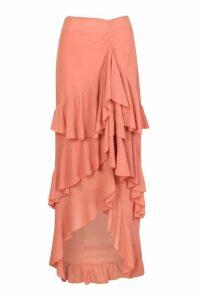 Womens Layered Ruffle Hem Maxi Skirt - Orange - 16, Orange