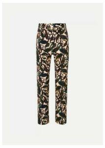 Chloé - Printed Cotton-blend Velvet Straight-leg Pants - Brown