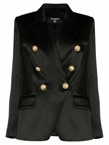 Balmain double-breasted silk-satin blazer - Black