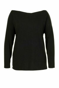 Womens Plus Oversized Rib Longsleeve T-Shirt - Black - 22, Black