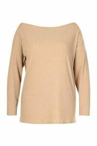 Womens Plus Oversized Rib Longsleeve T-Shirt - beige - 16, Beige