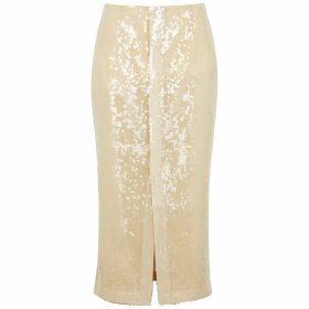 Roland Mouret Nobel Cream Sequin Tulle Midi Skirt