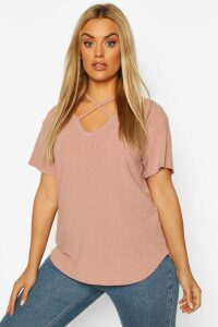 Womens Plus Cross Front Strap Ribbed T-Shirt - Pink - 26, Pink
