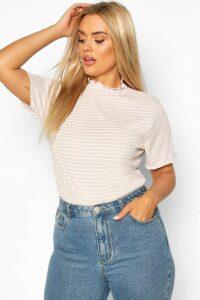 Womens Plus Lettuce Hem Stripe Rib T-Shirt - Beige - 22, Beige