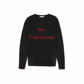 Ille De Cocos Au Contraire Merino Sweater - Dark Grey- Red