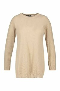 Womens Plus Side Split Moss Stitch Jumper - Beige - 16, Beige