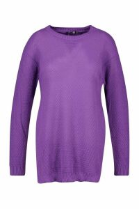 Womens Plus Side Split Moss Stitch Jumper - Purple - 20, Purple