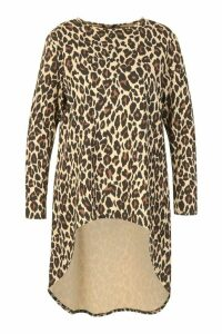 Womens Plus Leopard Print Maxi Top - Brown - 20, Brown