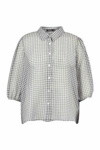 Womens Plus Sheer Gingham Check Shirt - black - 20, Black