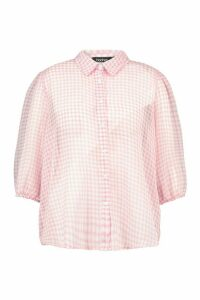 Womens Plus Sheer Gingham Check Shirt - orange - 20, Orange